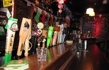 A variety of beers were on draft at Brendan Behan Pub.